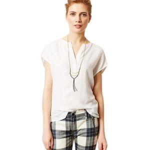 Cloth & Stone White Tencel Popover Top Size Large
